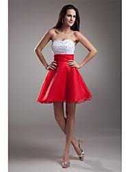 A-line sweetheart curto / mini organza cocktail vestido de festa com beading