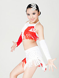 Latin Dance Outfits Children's Performance Milk Fiber Crystals/Rhinestones Tassel(s) 4 Pieces Sleeveless Top Skirt Gloves