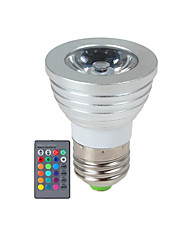 3W E14 / GU10 / E26/E27 LED Spotlight 1 High Power LED 270 lm RGB Dimmable / Remote-Controlled AC 85-265 V 1 pcs