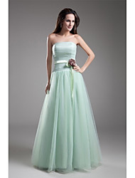 A-Line Strapless Floor Length Tulle Prom Formal Evening Dress with Flower(s) Sash / Ribbon Side Draping