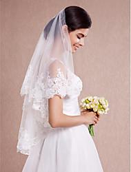 Hochzeitsschleier Einschichtig Gesichts Schleier Schulterlange Schleier Ellbogenlange Schleier Fingerspitzenlange Schleier Spitzen-Saum