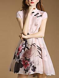De las mujeres Vaina Vestido Vintage / Simple Estampado Sobre la rodilla Escote Chino Modal / Poliéster