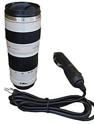 adaptateur de voiture Voyage tasse chauffage tasse de lentille de la caméra 450ml isolation revêtement en acier inoxydable tasse de café