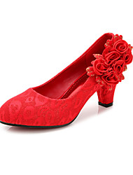 Women's Wedding Shoes Heels / Round Toe / Closed Toe Heels Wedding / Dress Red