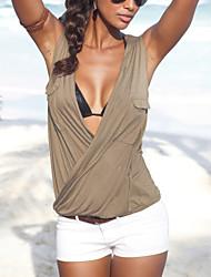 Damen Solide Sexy Lässig/Alltäglich T-shirt,Tiefes V Sommer Ärmellos Weiß / Schwarz / Grau Baumwolle / Polyester Dünn