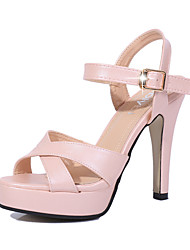 Women's Fashion Shoes Summer Round Toe Platform Sandals Wedding Leather High Heels Party Dress Shoes