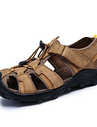 Herren Sandalen Komfort Nappaleder Sommer Wasser-Schuhe Komfort Klettverschluss Flacher Absatz Dunkelbraun Khaki Dunkelgrün Flach