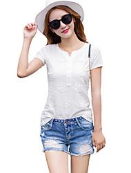 V-hals-Polyester-Geborduurd-Vrouwen-T-shirt-Korte mouw