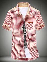 Camicia Uomo Casual A quadri Cotone Manica corta