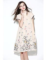 De las mujeres Corte Ancho Vestido Vintage / Simple Estampado Hasta la Rodilla Escote Chino Poliéster