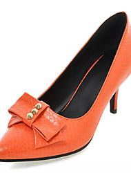 Mujer / Para Niña-Tacón Stiletto-TaconesExterior / Oficina y Trabajo / Vestido-Semicuero-Negro / Naranja