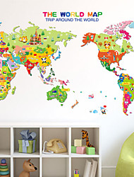 Wall Stickers Wall Decals, Cute Cartoon Animal Map PVC Wall Sticker