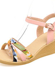 Women's Shoes Wedge Heel Wedges Sandals Dress Blue / Yellow / Pink / Red