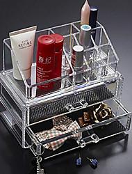 Organizador para Maquiagem Caixa de Cosméticos / Organizador para Maquiagem Plastic / Acrílico Cor Única 18.5*10*15.5 cm Transparentes