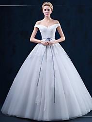 А-силуэт Свадебное платье В пол Приспущенные плечи Тюль с Аппликации