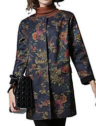 Women's Floral Blue / Red / Black Coat,Simple Long Sleeve Nylon