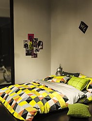 Colorful plaid duvet cover Sets 100% Cotton Bedding Set Queen/Double/Full Size