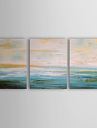 Ручная роспись Пейзаж / Абстрактные пейзажиModern 3 панели Холст Hang-роспись маслом For Украшение дома