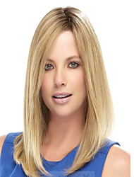 Capless Blonde Color Long Length High Quality Natural Straight Hair Synthetic Wig with Side Bang