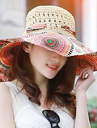 Для женщин Винтаж На каждый день Соломенная шляпа,Весна Лето Солома С принтом