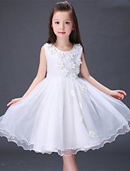 A-line Knee-length Flower Girl Dress - Satin Tulle Polyester Jewel with Bow(s) Flower(s)