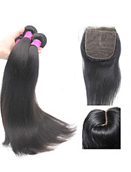 Unprocessed Brazilian Straight Human Hair Weft 3 Bundles With J Part Silk Base Closure 3.5*4 Inch Remy Hair