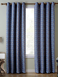 Chadmade SOFITEL Contemporary Heat Tranfer Print Abstract Stripe Pattern - Lined Curtain Panel Drapes - Blue Stripe