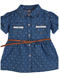 Girl's Casual/Daily Dress,Cotton Summer Blue