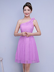 Knee-length Satin / Tulle Bridesmaid Dress A-line One Shoulder with Flower(s)
