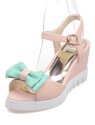 Women's Shoes Leatherette Wedge Heel Wedges Sandals Wedding / Party & Evening / Dress / Casual Green / Pink