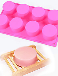 8 Cavity Silicone Round Cylinder Soap Diy Mold Cupcake Moulds(Random Color)