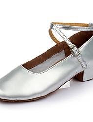 Women's Girl's Kids' Dance Shoes Latin / Modern / Salsa / Samba Paillette 3.5CM Flat Heel Silver / Gold