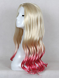 Ombre Wig Blonde to Pink Body Wave Gradient Color Heat Resistant Lolita Cosplay Wig for Party