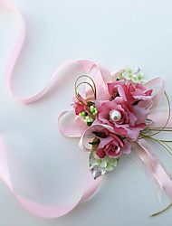 Exquisite Rose Silk Bride Wedding Wrist Corsages