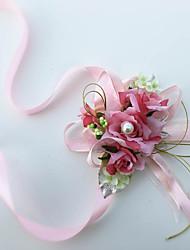 Fleurs de mariage Noué à la main Roses Petit bouquet de fleurs au poignet Mariage / Le Party / soirée Fuchsia Coton / Soie