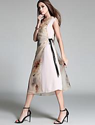 Mulheres Vestido Swing Vintage Estampado Médio Decote Redondo Seda