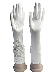 Elbow Length Fingertips Glove Cotton Bridal Gloves / Party/ Evening Gloves Spring / Summer / Fall / Winter Embroidery / Rhinestone