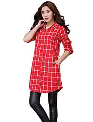 Women's Check Blue / Red Shirt,Shirt Collar Long Sleeve