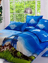Torre Eiffel sets nova capa arival de luxo 3d padrão de conjuntos de cama edredon, queen size