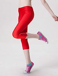 Legging Couleur Pleine Moyen Polyester Femme