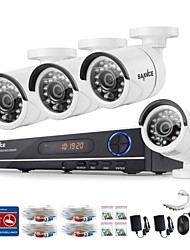 SANNCE® 720P AHD 8CH LED Vedio CCTV DVR Home Surveillance Security Camera System (White)