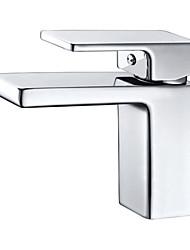 PHASAT® Art Deco Single Handle One Hole in Chrome Bathroom Sink Faucet