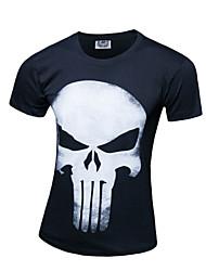 Masculino Camiseta Algodão Estampado Manga Curta Casual / Tamanhos Grandes-Preto