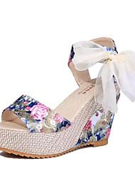 Синий / Розовый-Женская обувь-Для прогулок / На каждый день-Дерматин-На танкетке-На танкетке / На каблуках-Сандалии