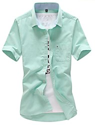 Men's Solid Casual / Work / Plus Sizes Shirt,Cotton Short Sleeve Blue / Green / Pink / Red / White / Yellow / Gray