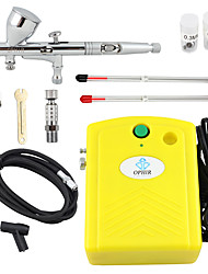 OPHIR Yellow 100V-240V Airbrush Compressor Kit 3 Tips Dual-Action Airbrush for Nail Art Temporary Tattoo Makeup