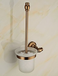 Toilet Brush Holder , Antique Aluminum Wall Mounted Gold Toliet Paper Holder