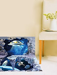 The New Planet Spaceship 3D Wall Sticker Affixed To Study Bedroom For Kids Rooms Wall Stickers Home Decor Sticker
