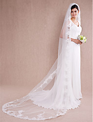 Wedding Veil One-tier Chapel Veils / Cathedral Veils Lace Applique Edge Tulle Ivory Ivory