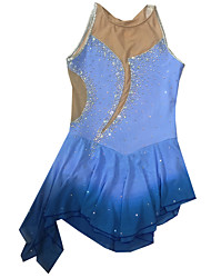 Robe de Patinage Femme Sans manche Patinage Robes Robe de patinage artistique Elasthanne Bleu Tenue de Patinage Vêtements de Plein Air